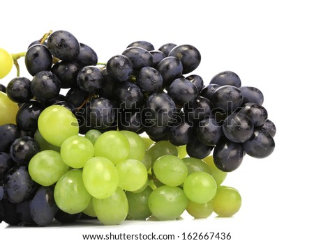 Black and green ripe grapes. Whole background. - stock photo