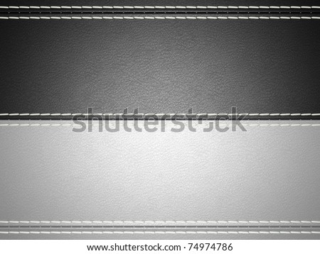 Black and grey horizontal stitched leather background. Large resolution - stock photo