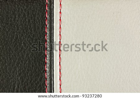 Black and Grey sewing leather with red. See my portfolio for more - stock photo