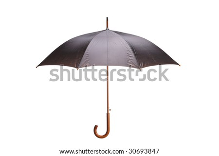 Black and grey umbrella isolated on white background