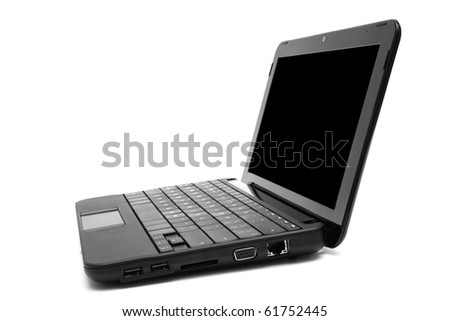 black and new laptop on a white background - stock photo