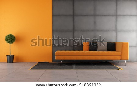 Black and orange living room with contemporary sofa - 3d rendering