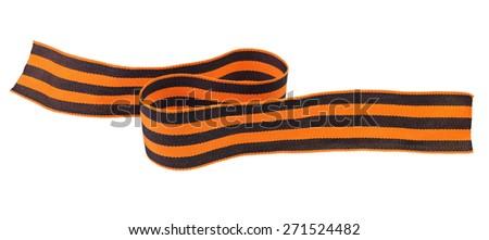 Black and orange Ribbon of St. George isolated on white background - stock photo