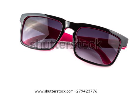 Black and pink sunglasses isolated on white background