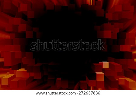 Black and red abstract background cube pattern - stock photo