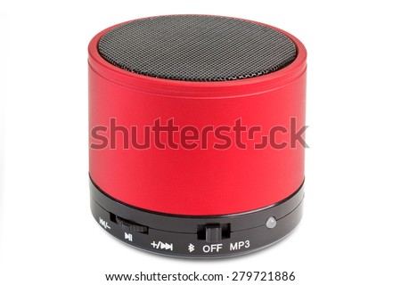 Black and red Blue tooth loudspeaker - isolated on white background - stock photo