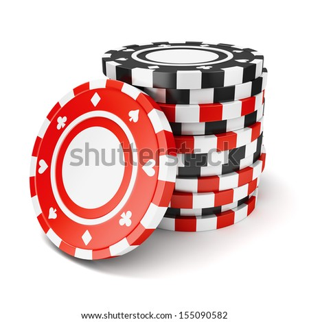 Black and red casino tokens pile isolated on white background - stock photo