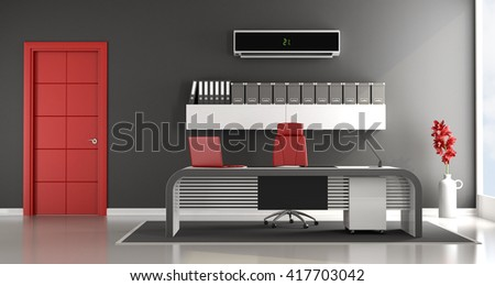 Black And Red Contemporary Office Space With Air Conditioner   3d Rendering