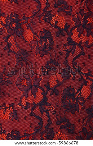 Black and red fine lace texture - stock photo