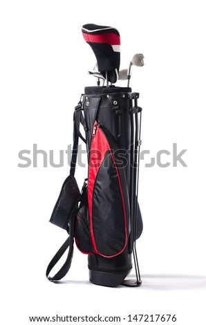 Black and red golf bag and clubs, isolated on white background - stock photo