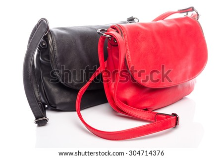 Black and red handbag, isolated on white