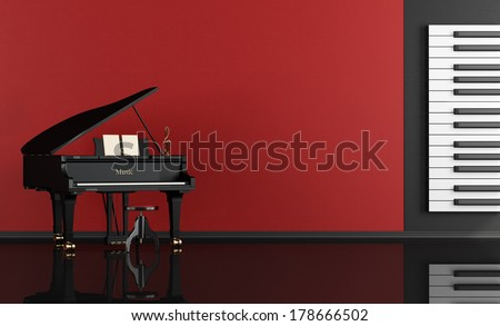 Black and red music room with grand piano - rendering - stock photo
