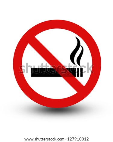 Black and red no smoking sign with shadow - stock photo