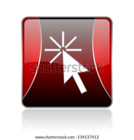 black and red square glossy internet icon on white background with reflaction - stock photo