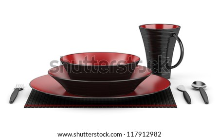 black and red table setting with cup isolated on white background