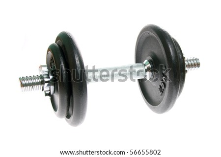 Black and silver dumbbells isolated on white background - stock photo
