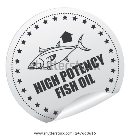 Black and Silver High Potency Fish Oil Sticker, Icon, Badge, Sign or Label Isolated on White Background  - stock photo
