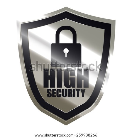 black and silver metallic high security badge, shield, sticker, sign, stamp, icon, label isolated on white - stock photo