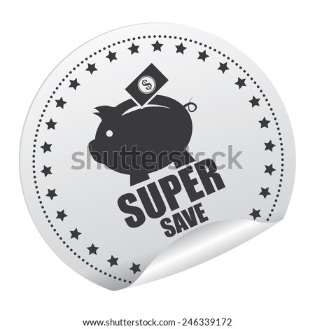 Black and Silver Super Save Sticker, Icon, Badge, Sign or Label Isolated on White Background  - stock photo