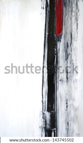 Black and White Abstract Art Painting - stock photo