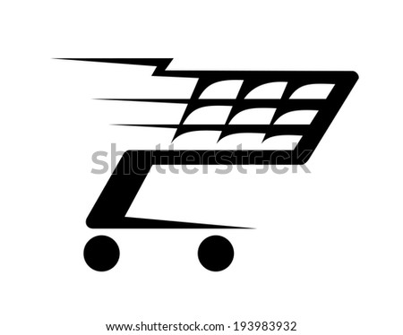 Black and white abstract illustration of a shopping cart moving fast, isolated on white background. Vector version also available in gallery - stock photo