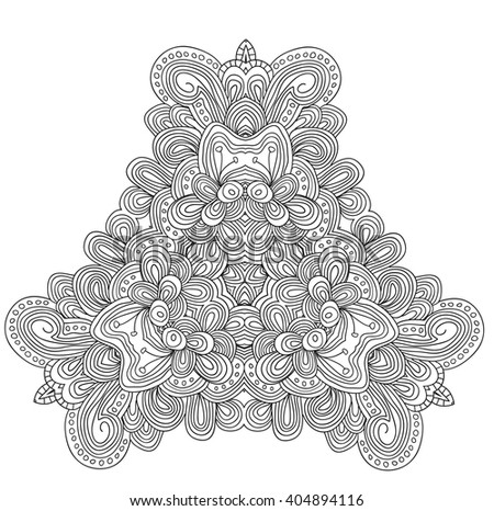 black and white abstract pattern with leaves and flowers doodle hand drawn zentagles - Sacred Geometry Coloring Book