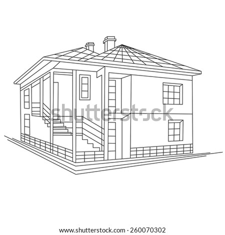 black and white abstract sketch  ink drawing of cottage country house isolated on white background Architectural 3d raster illustration - stock photo