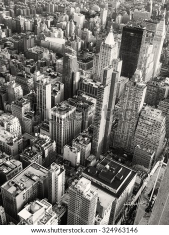 Black and white aerial view of midtown Manhattan in New York City