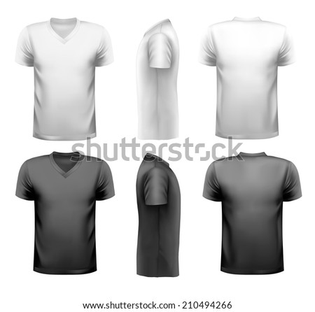 Black and white and color men t-shirts. Design template.  - stock photo