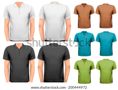 Black and white and color men t-shirts. Design template. Raster version