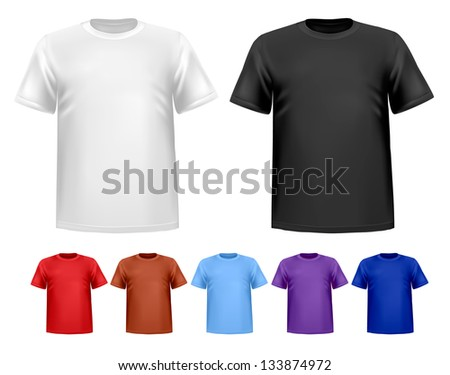 Black and white and color men t-shirts. Design template. Raster version of vector - stock photo