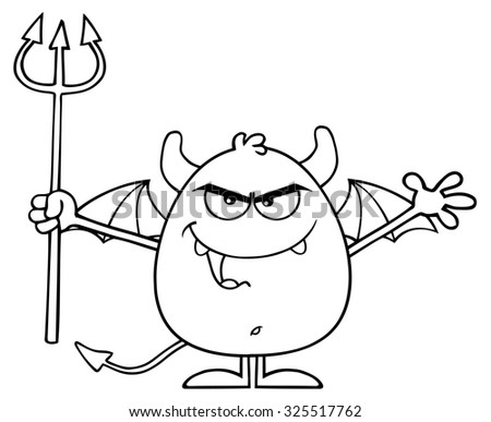 Black And White Angry Devil Cartoon Character Holding A Pitchfork. Raster Illustration Isolated On White - stock photo