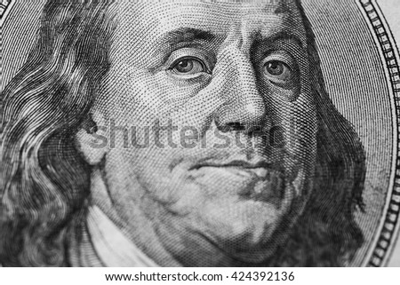 black and white art photography monochrome, background of money, hundred dollar bills front side. new hundred-dollar bil face, evolution of bill in one hundred dollars, Benjamin Franklin - stock photo