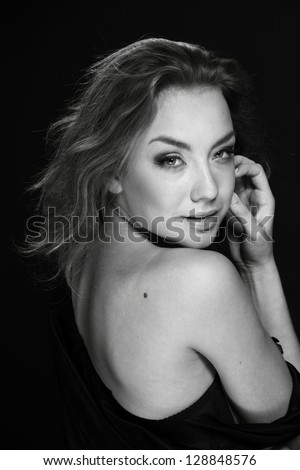 Black and White Art portrait of pretty woman/Elegant ukrainian model in vogue style