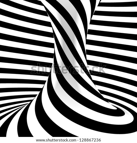 Black and white background. Abstract striped object. - stock photo