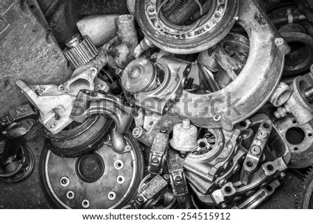 black and white background of auto parts - stock photo