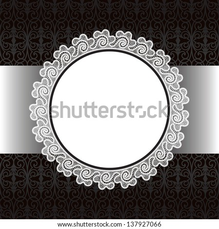 Black and white background, round lace frame, raster illustration