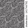 Black and white background, vintage floral seamless pattern, raster version - stock