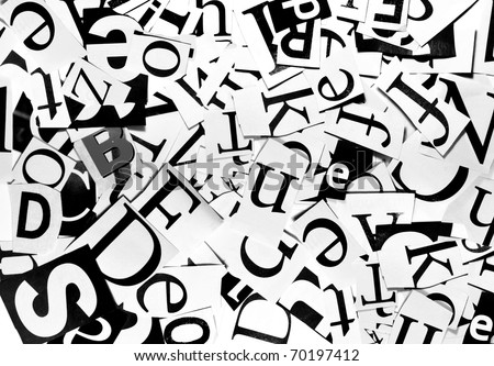 Black And White Background With Letters Cut From Newspaper