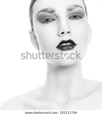 Black and white beauty woman portrait