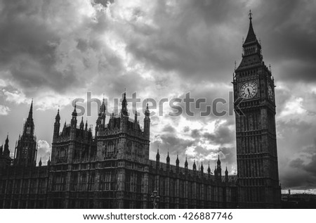 Black and white Big Ben, London, UK - stock photo
