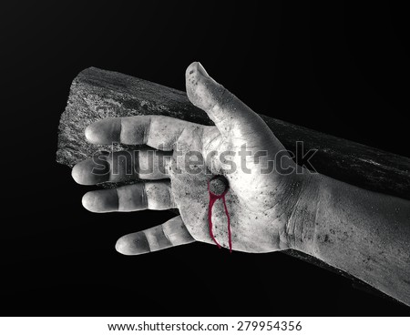 Black and white bleeding hand with nail on the cross. Christmas background, Forgiveness, Mercy, Repentance, Reconcile, Adoration, Glorify, Redeemer, Redemption, Gospel, Love, Faith, Hope concept. - stock photo