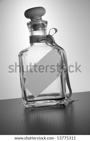 Black and white bottle with copyspace