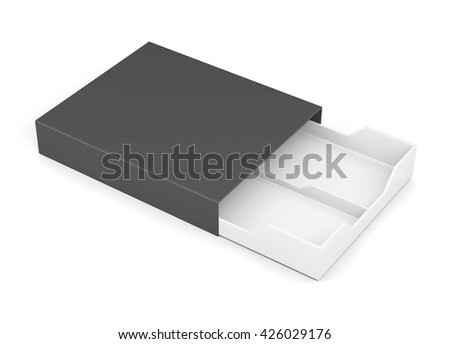 Black-and-white box of laminated cardboard on a white background. 3d rendering