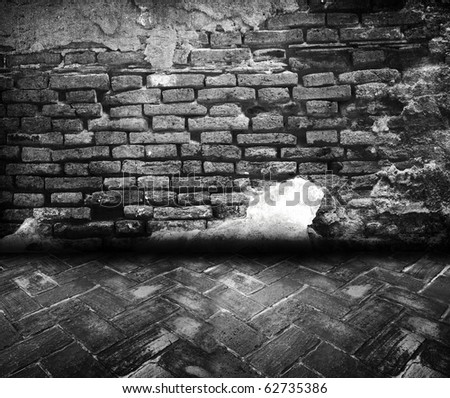 Black and white brick grunge room - stock photo