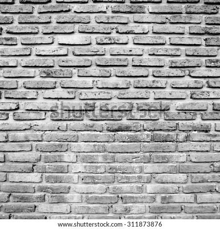 Black and white brick wall for texture background - stock photo