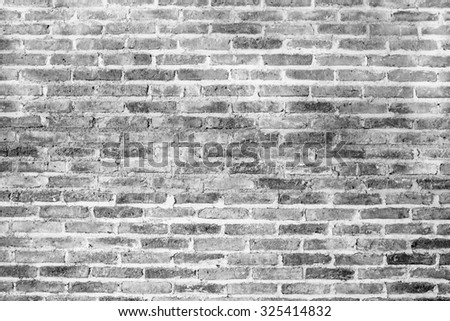 Black and White brick wall texture background - stock photo
