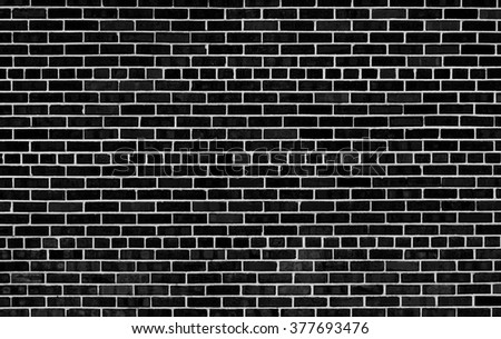 Black and white brick wall textured background pattern - stock photo