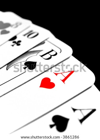 black and white card deck with a red heart ace - stock photo