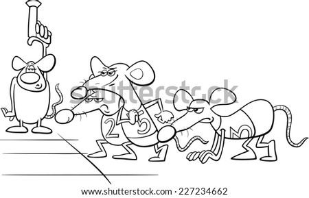 Black and White Cartoon Humor Concept Illustration of Rat Race Saying or Proverb for Coloring Book - stock photo
